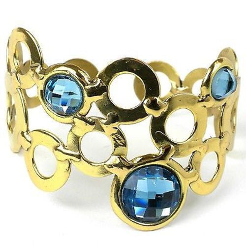 Sky Blue Bubble Brass Cuff Handmade and Fair Trade