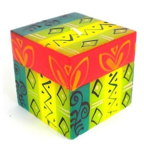 Hand-Painted Cube Candle - Matuko Design Handmade and Fair Trade