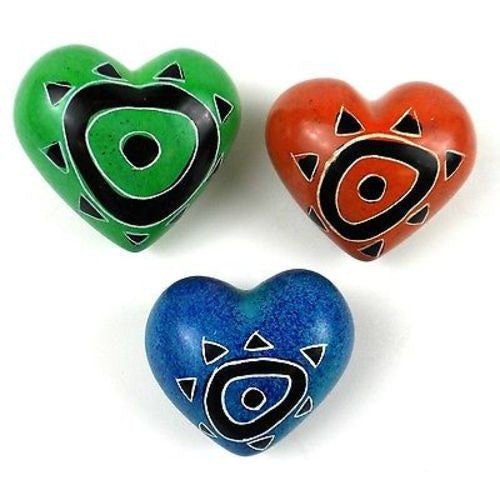 Set of Three Handcrafted Mini Soapstone Hearts Handmade and Fair Trade