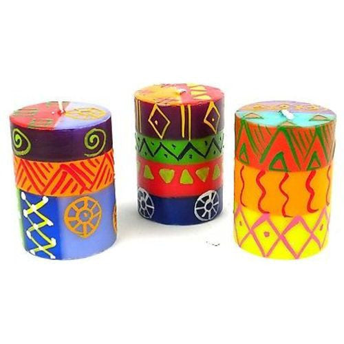 Set of Three Boxed Hand-Painted Candles - Shahida Design Handmade and Fair Trade