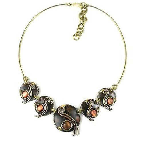 Peach Tiger Eye Swirl Brass Necklace Handmade and Fair Trade