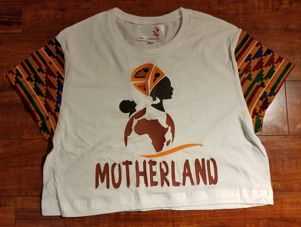 Motherland Leather and Kente Details Crop Top