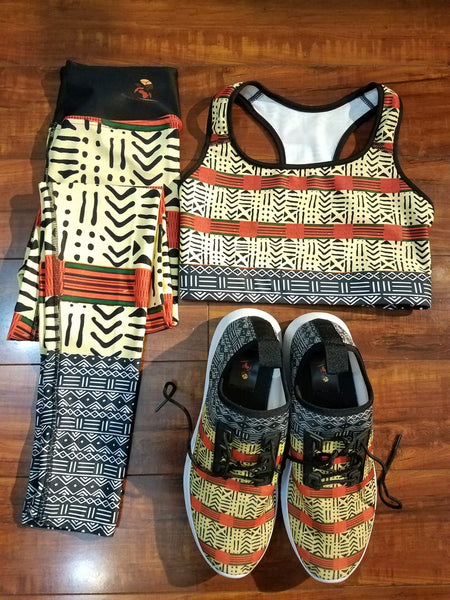 Kente and Mud Cloth Fusion Yoga Shorts