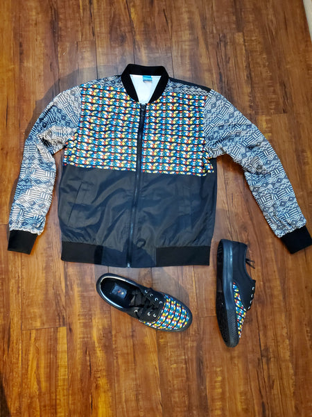 Mud Cloth and Zulu Beads Print Bomber Jacket for Women