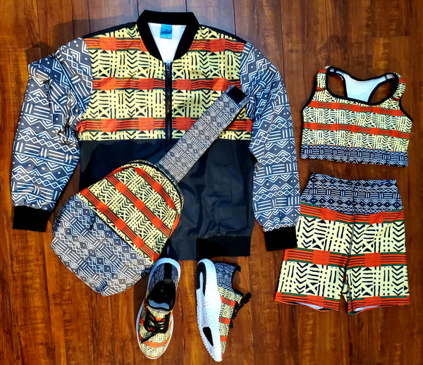 Kente & Mud Cloth Fusion Bomber Jacket for Women