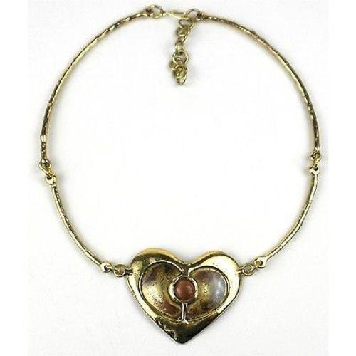 Peach Tiger Eye Brass Heart Necklace Handmade and Fair Trade