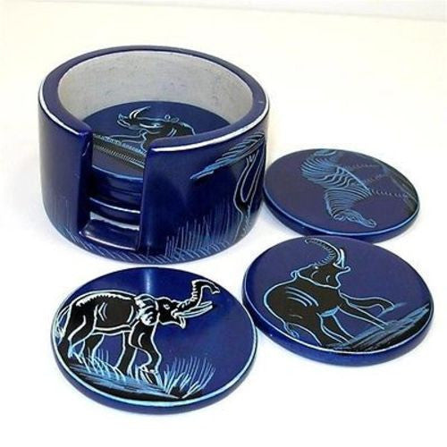 Set of 6 Handmade Blue Soapstone Coasters (Kenya) Handmade and Fair Trade