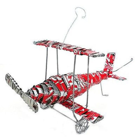 Recycled Tin Strip Red Bi-Plane Handmade and Fair Trade