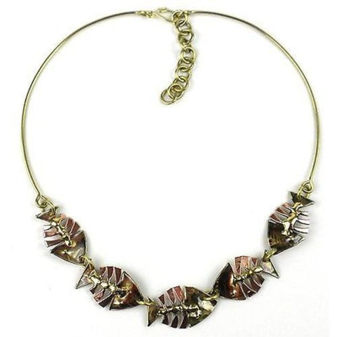 Fishbone Brass Necklace Handmade and Fair Trade