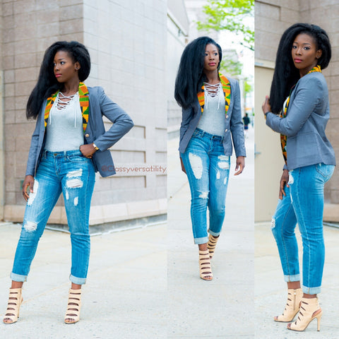 Women's Kente Cloth Blazer - Grey