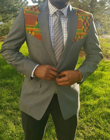 2-In-1 Kente Elbow Patches Blazer - Gray Style #2