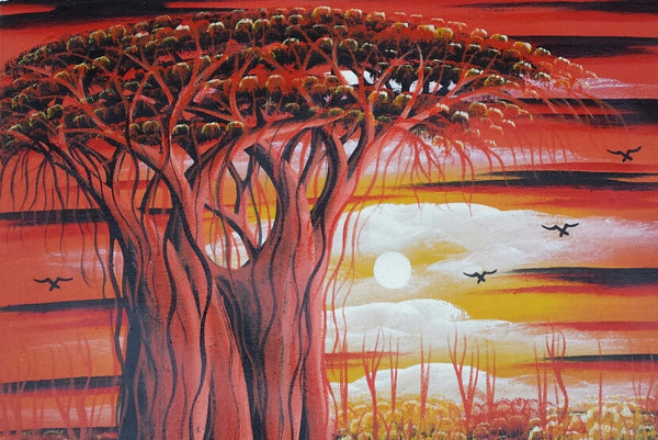 African Tree of Life Original Canvas Painting - Red