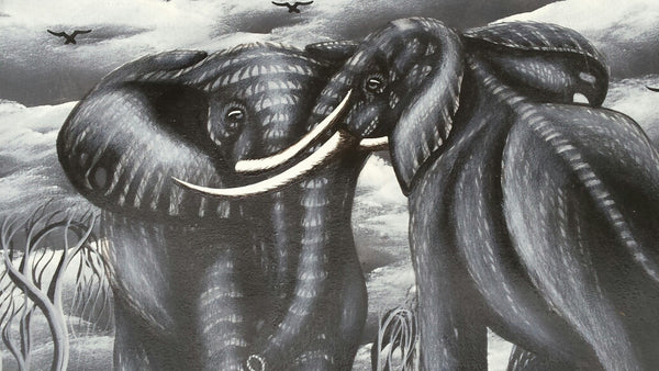 Two African Elephants Original Canvas Painting - Grey #1