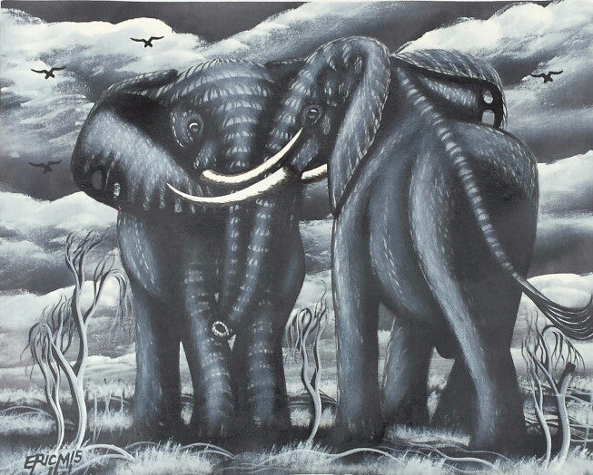 Two African Elephants Original Canvas Painting - Grey #2