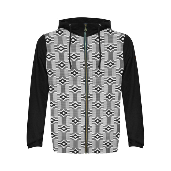 Black & White Kente Print Zipper Hoodie (Men)