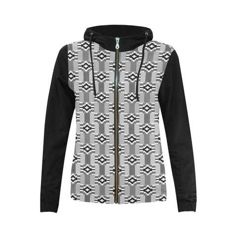 Kente Black and White Zipper Hoodie (Women)