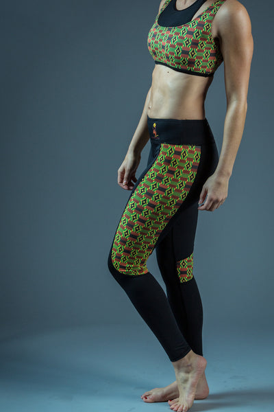 RuvaAfricWear Kente Print Fitness Leggings - black