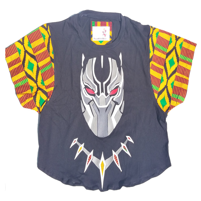 Black Panther Leather and Kente Details Crop Top