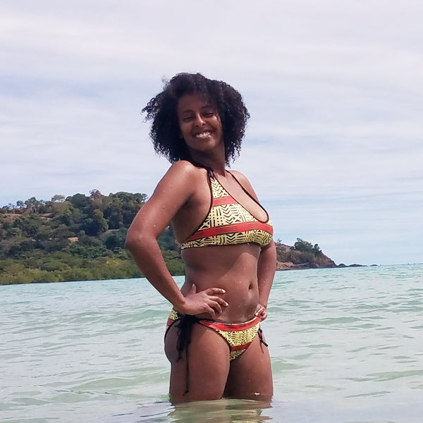 Kente and Mud Cloth Fusion Reversible Bikini