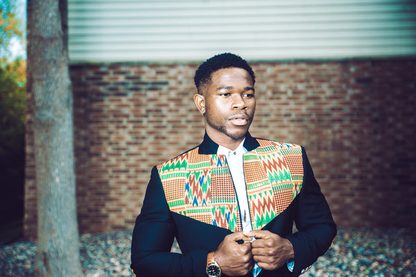 2-In-1 Kente Elbow Patches Blazer - Black Style #2