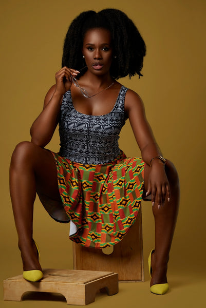 Kente and Mud Cloth Fusion Dress