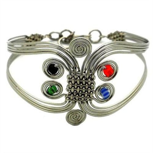 Silverplated Wire and Colorful Bead Six Swirl Bracelet Handmade and Fair Trade