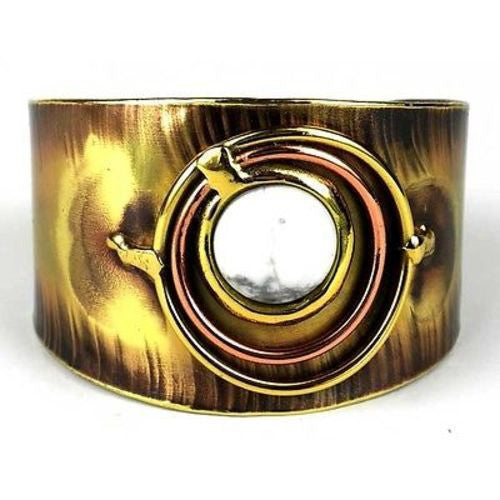 Concentric Howlite Brass and Copper Cuff Handmade and Fair Trade
