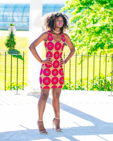 Ankara Circles Bodycon Party Dress