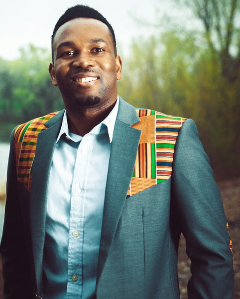 2-In-1 Kente Elbow Patches Blazer