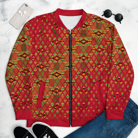 Red Kente Print Unisex Bomber Jacket