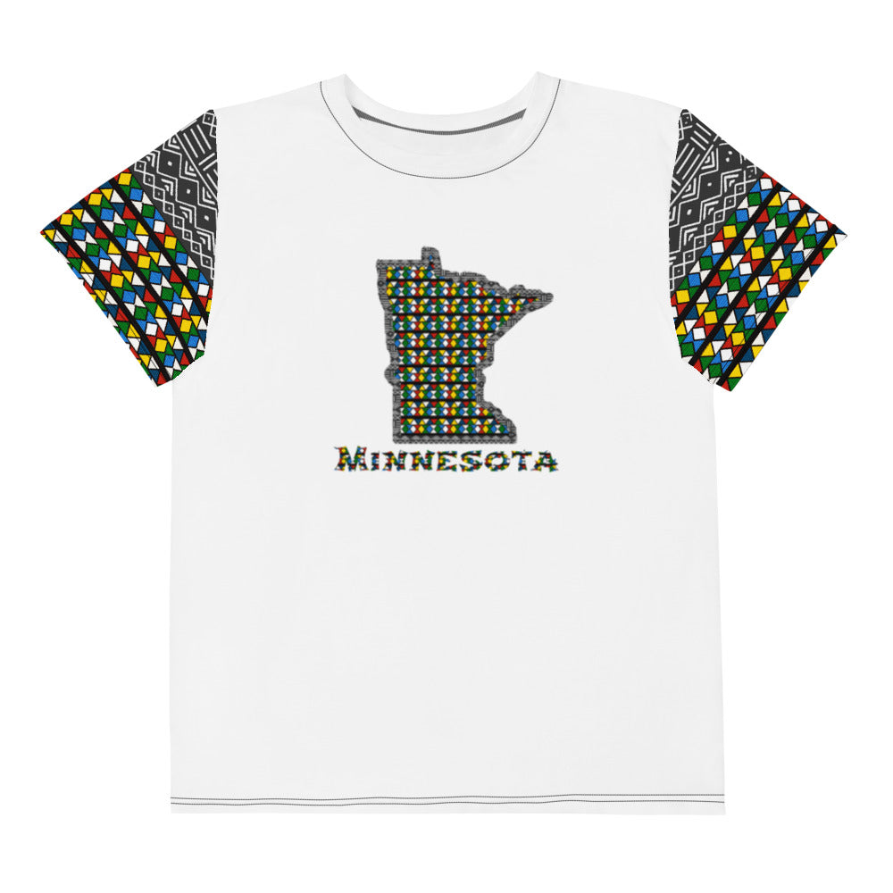 Minnesota Zulu Beads Print Youth crew neck t-shirt