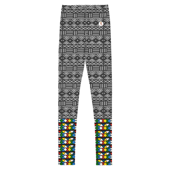 Zulu and Mud Cloth Fusion Print Youth Leggings