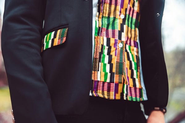 Kente Lapel & Pockets Ladies Blazer -Black