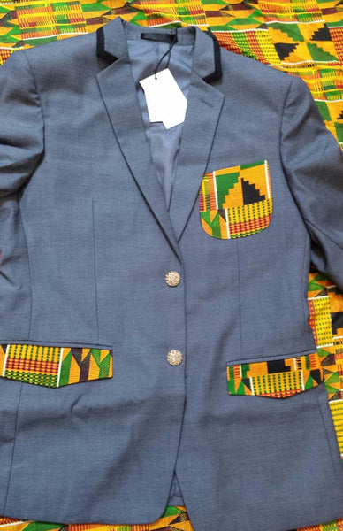 Men's Blazer with Kente Cloth pockets - Grey