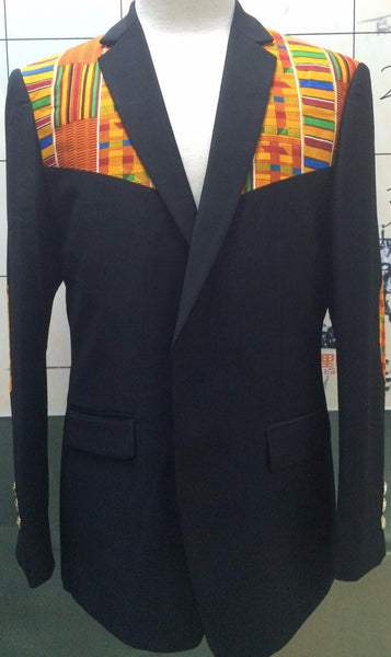 2-In-1 Kente Elbow Patches Blazer - Black Style #1