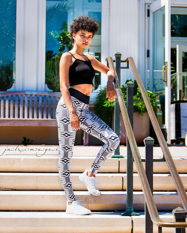 Black & White Kente Yoga Leggings