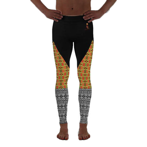 Men's Kente and Mud cloth Print Yoga Leggings