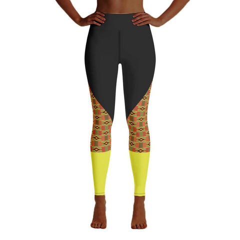 Kente and Yellow Calf Yoga Leggings