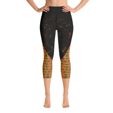 Spray Paint and Kente Yoga Capri Leggings