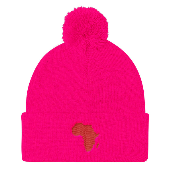 African Map Pom Pom Knit Cap