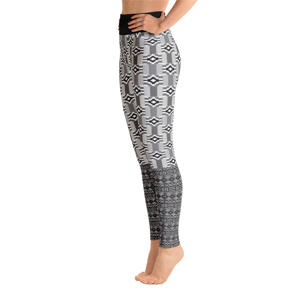 Black & White Kente and Mud Cloth Yoga Leggings