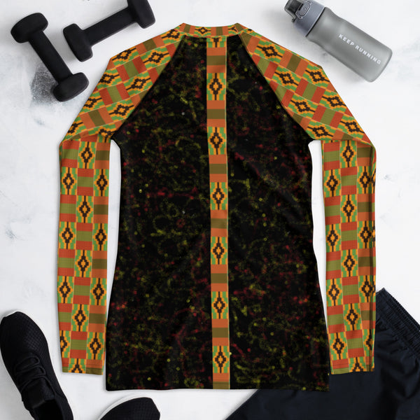 Spray Paint & Kente Women's Rash Guard