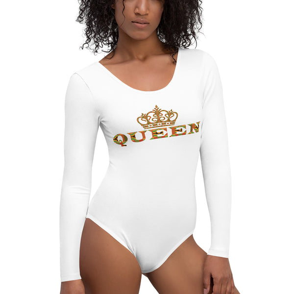 Queen Kente Print Long Sleeve Bodysuit