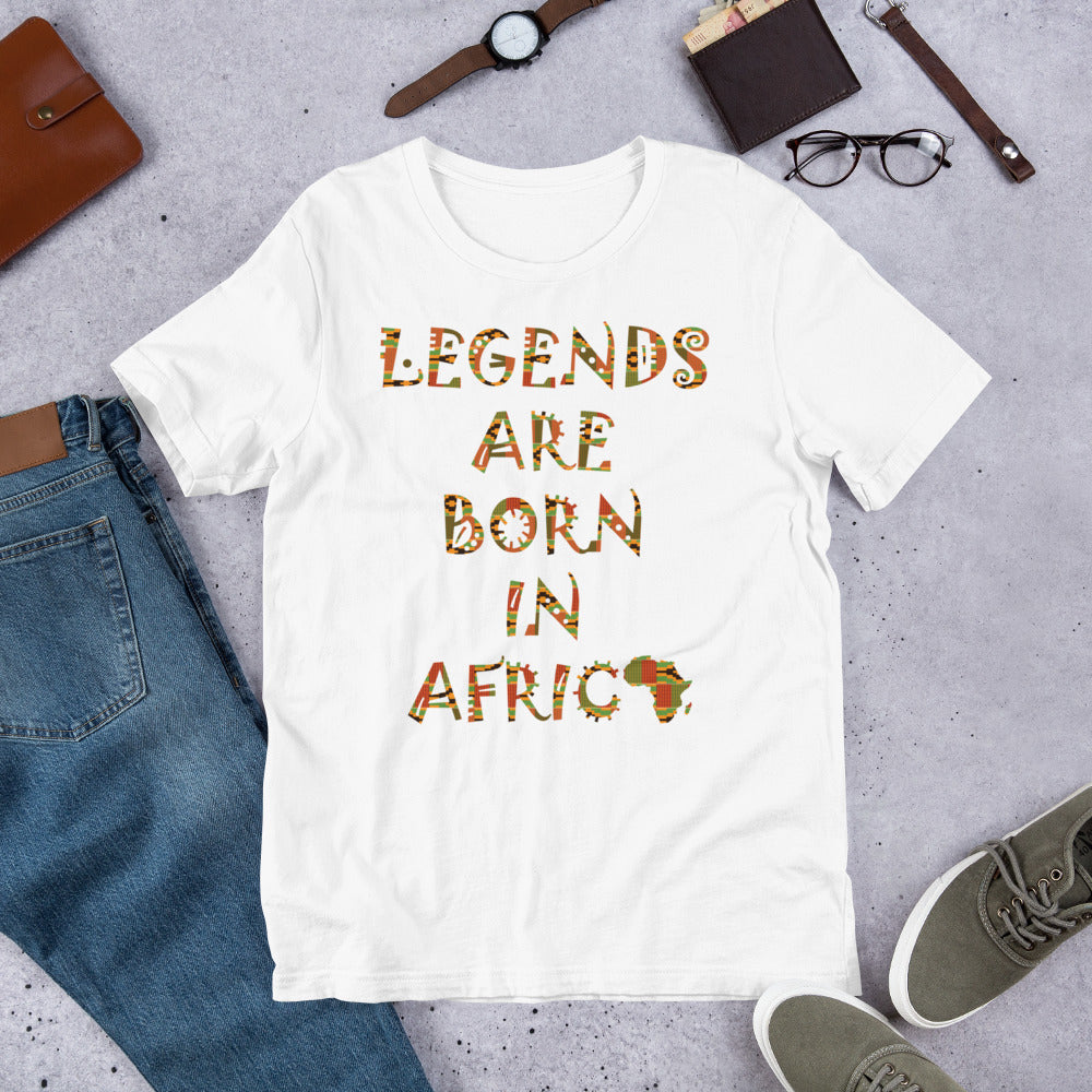 Legends Are Born in Africa Kente Print Short-Sleeve Unisex T-Shirt