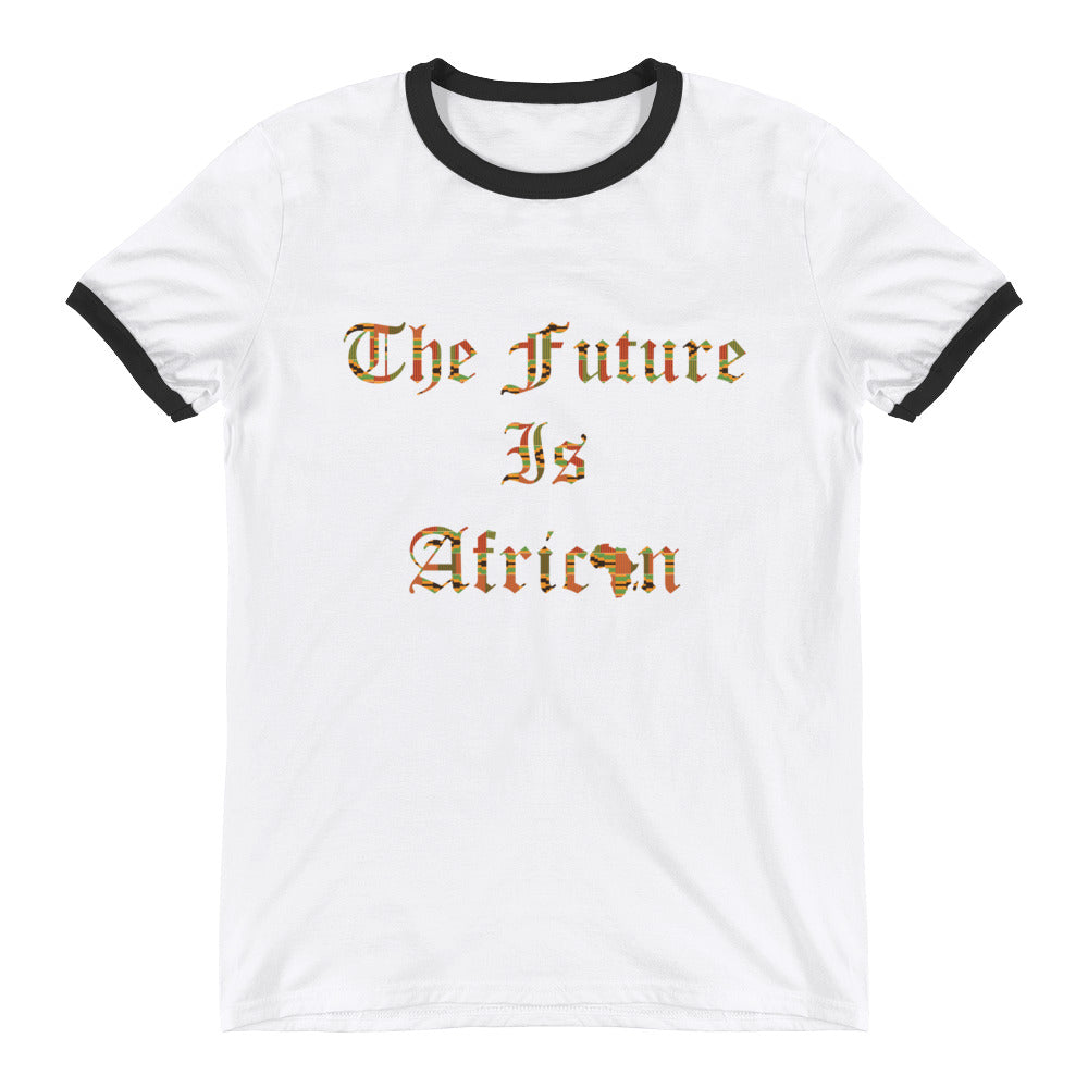The Future Is African Kente Print Ringer T-Shirt
