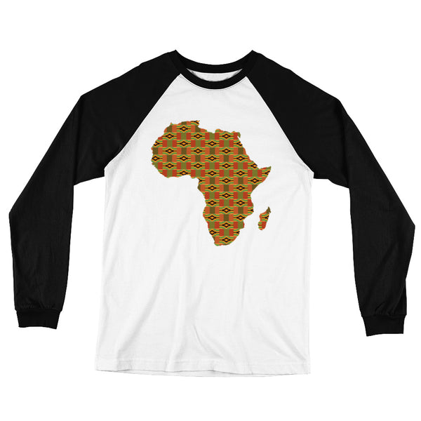 African Map Kente Print Long Sleeve Baseball T-Shirt
