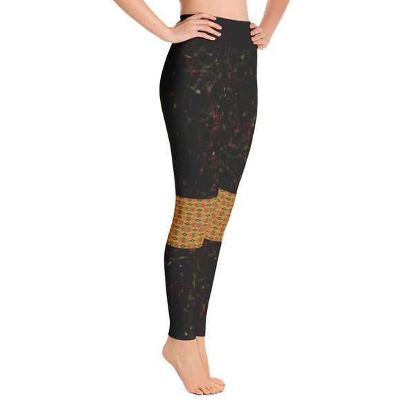 Spray Paint and Kente patch Yoga Leggings