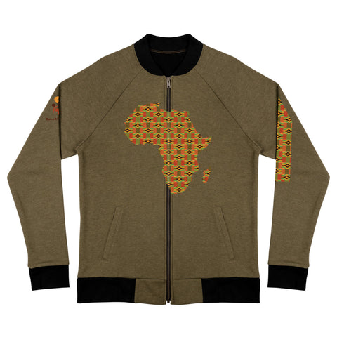 African Map Kente Print Bomber Jacket