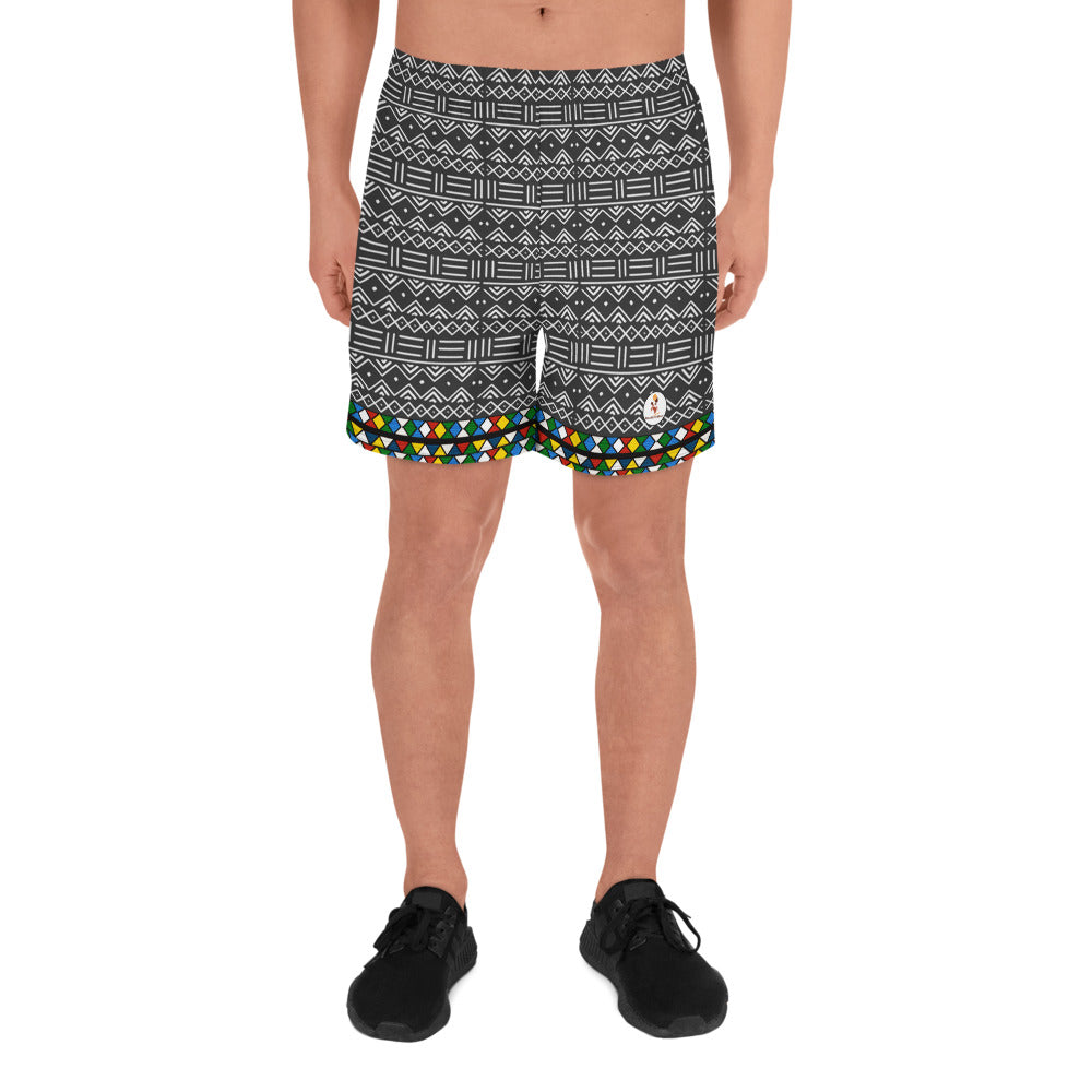 Men's Athletic Mud Cloth & Zulu Beads Fusion Shorts