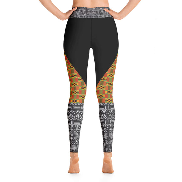 Kente and Mud cloth Print Yoga Leggings - Style 3